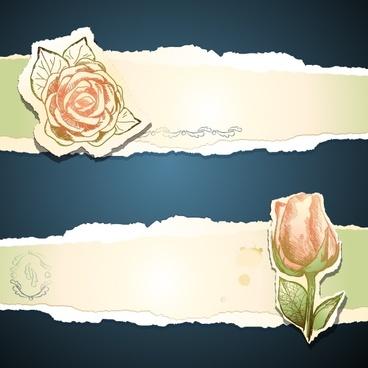 rose sticker tear marks vector