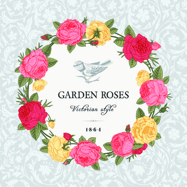 rose with bird vintage cards vector