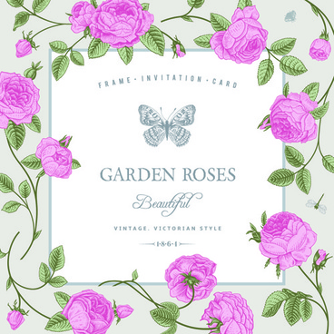 rose with butterfly vintage cards vector graphic