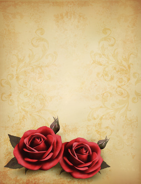 roses and vintage background vector