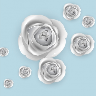 roses background 3d silver design