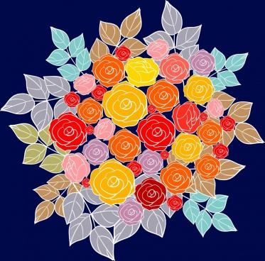 roses background design colorful closeup sketch