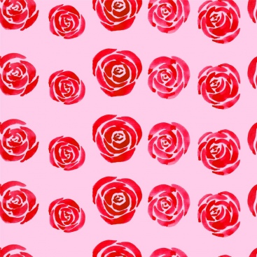 roses background red design repeating flat sketch