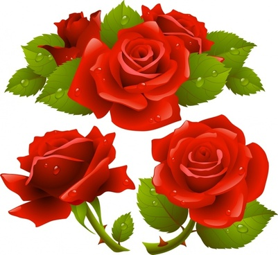 rose icons colored wet decor realistic 3d design