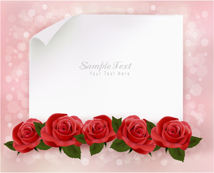 roses with blank paper vector background