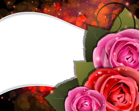 roses with shiny background vector