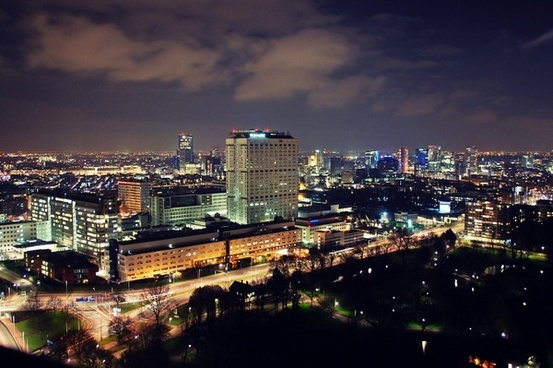 rotterdam city scape night shot
