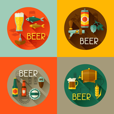round beer labels flat vector