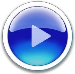 Round blue play button