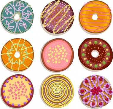 round cake icons collection multicolored decoration