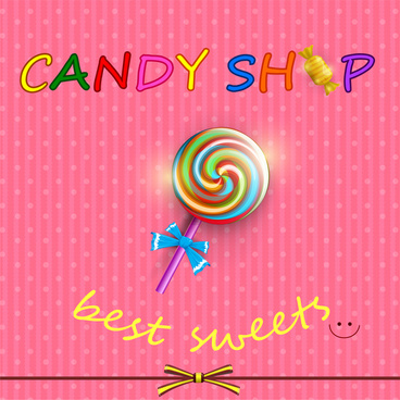 round candy with stick card on pink background