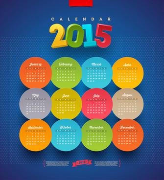 round cards15 calendar vector