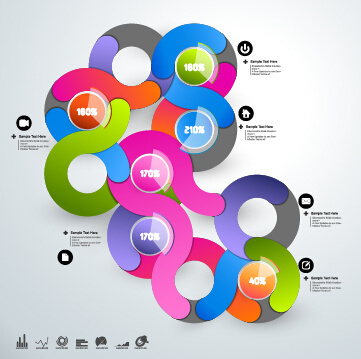 round colored infographics and diagram vector template