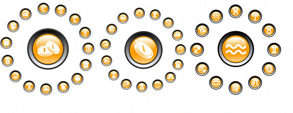 round crystal icons vector