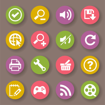 round flat computer icons set