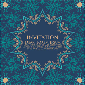 round floral pattern invitation cards vector