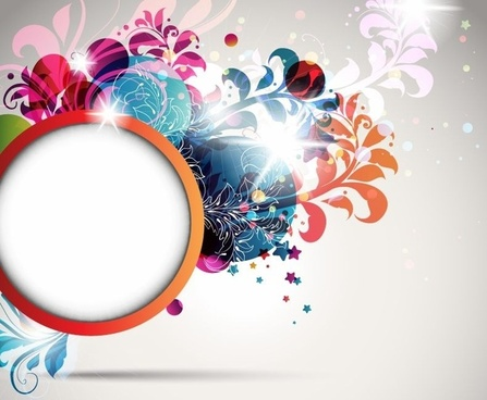Round Frame Decorated with Floral Elements Vector Illustration