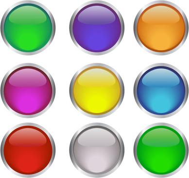 round glass button web design vector