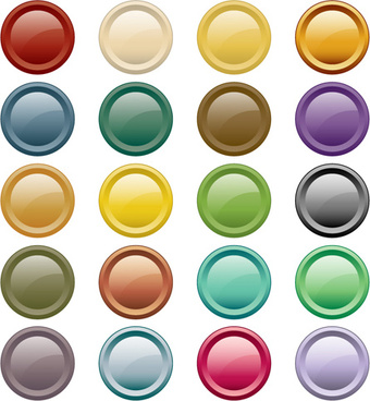 round glass button web design vector
