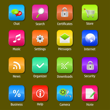 round glossy web icons set