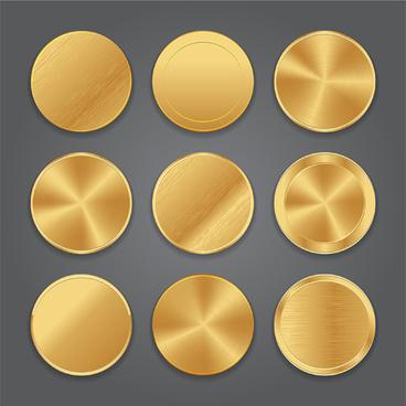 round gold button vector set