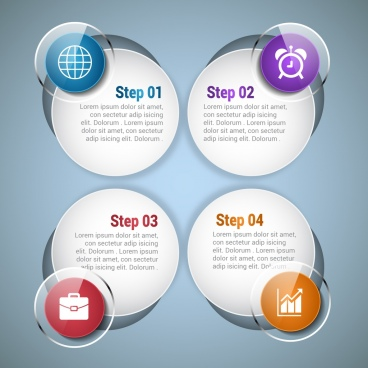 round infographics template bright shiny glass style