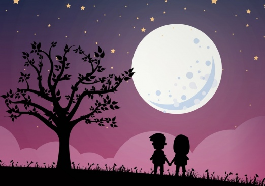round moon sky backdrop kids silhouette decor