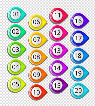 round numbering buttons collection colorful shiny decoration