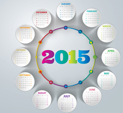 round paper cards calendar15 vector