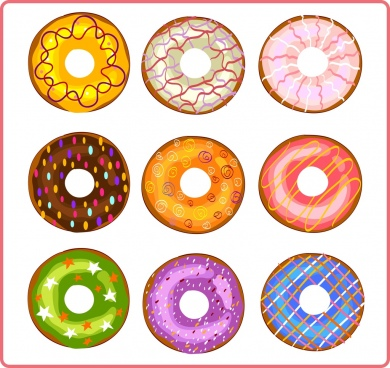 round pies icons collection multicolored flat decoration
