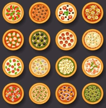 round pizza vector icons
