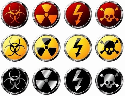 Round Radiation Warning Vector Graphics