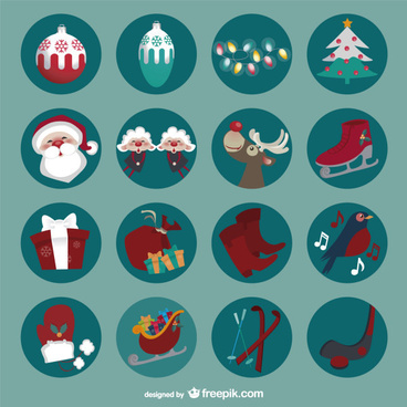 round retro christmas icons set