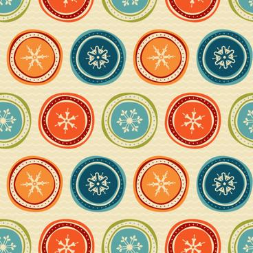 round snowflake seamless pattern retro vector