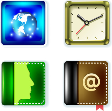 round square icons set