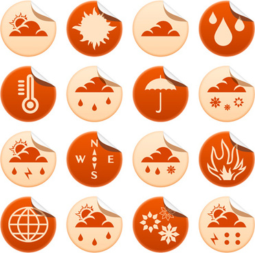 round weather stickers vector graphics