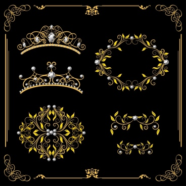 royal crown design elements luxury classical curves decor
