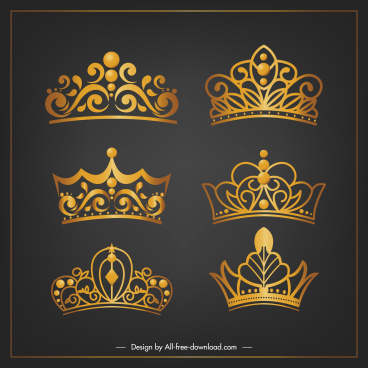 royal crown templates luxury shiny golden design