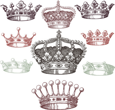royal crown vintage design vectors