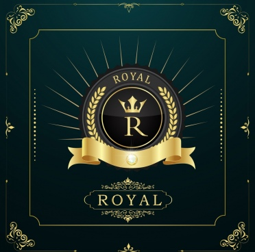 royal document cover template golden ribbon barley icons