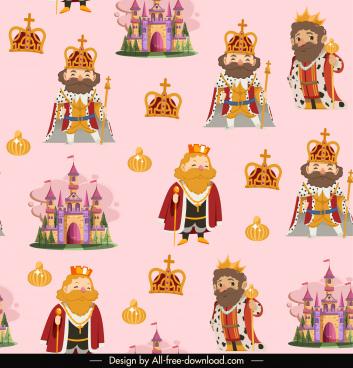 royal elements pattern king crown castle decor