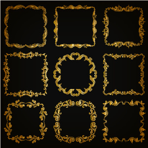 royal golden frame vectors set