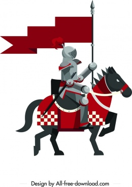 royal knight icon colored vintage design