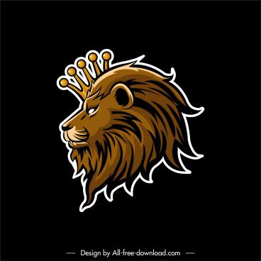 royal label template lion crown decor flat sketch