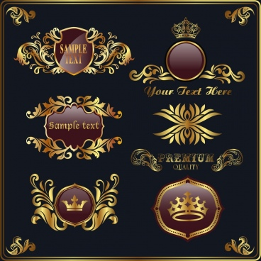 royal logo design elements golden shiny classical decor