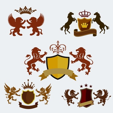 royal logo sets design with crest and animals