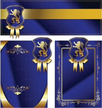 Royal shield ribbon card vector