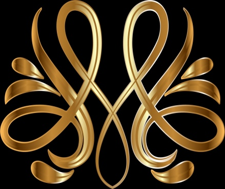 royal symbol template shiny golden seamless curved design