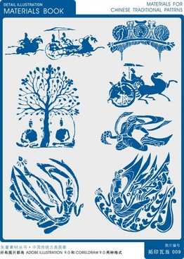 oriental culture design elements silhouettes symbols sketch