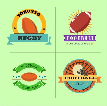 rugby football club logo sets with color style